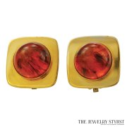 Y.S.L. Faux Tortoise-Shell Square-Shape Earrings