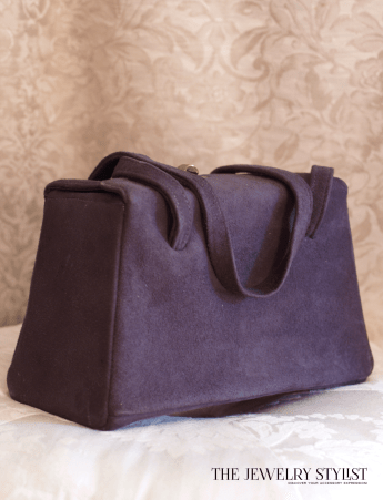 1940s Blue Suede Box Purse with Satin Lining