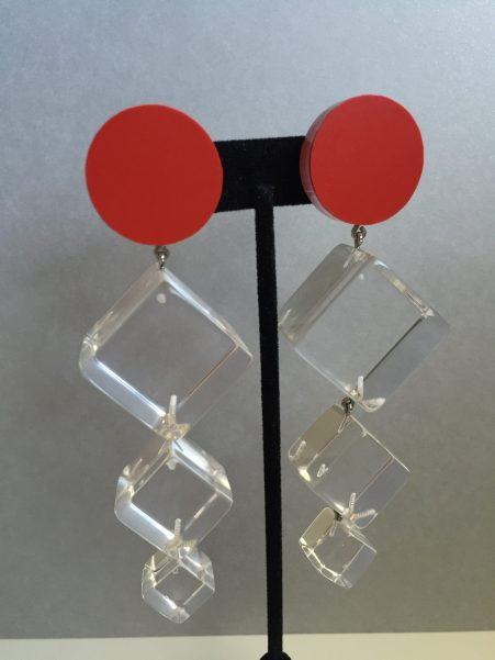 Contemporary Classic Judith Hendler Triple Cube Clear and Red Pendant Earrings