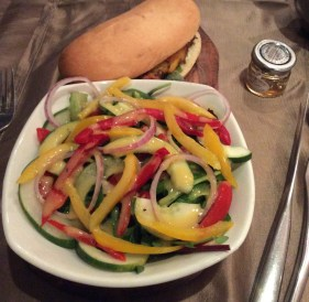 Char grilled chicken sandwich with side salad