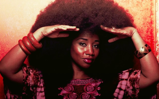 Aevin Dugas and her fro- the world's biggest fro.