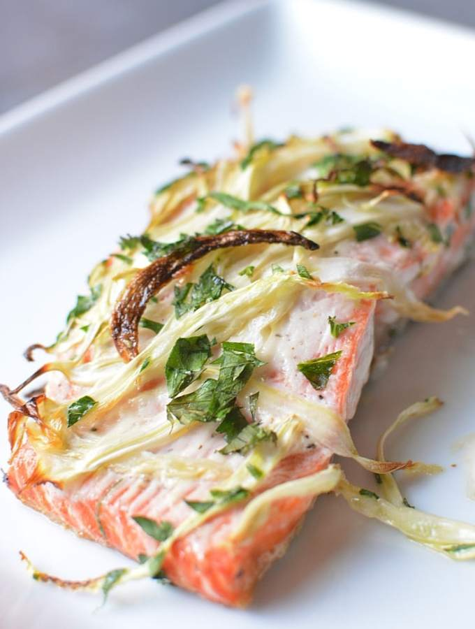 Broiled Fennel Salmon for any occasion! 20-minutes to make. Treat yourself to elegance with healthy, wild salmon. Gluten-free recipe. Perfect for wedding dinner or weeknight meal. thekitchengirl.com