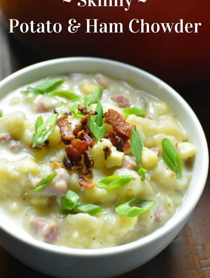 Skinny comfort food - uses 1% milk instead of heavy cream, but still a creamy potato and ham soup. And there's bacon…and corn! Super-easy to make, gluten-free, healthier, comfort food. thekitchengirl.com