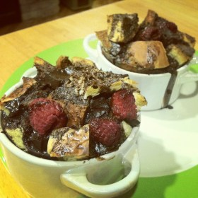 A Guest Post from ASquared: Dark Chocolate Raspberry Bread Puddings for Two