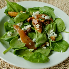 Spinach, Gorgonzola, and Poached Pear Salad
