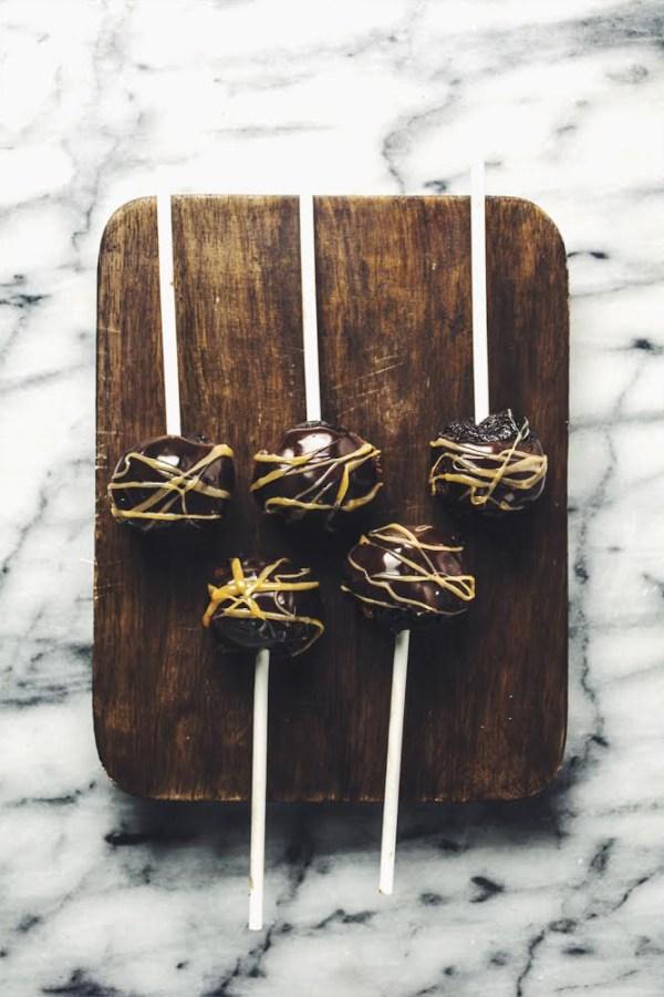 Halfway Homemade Desserts Turtle Brownie Pops