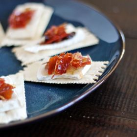 Brie, Jam, and Crispy Prosciutto on Crackers