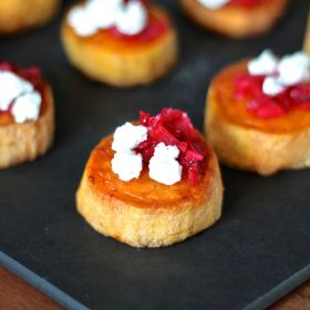 Cranberry, Goat Cheese, and Sweet Potato Bites