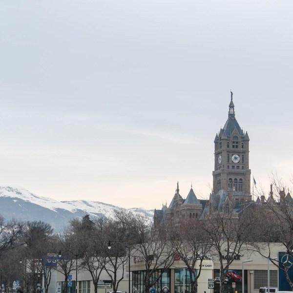 Salt Lake City Utah Church and Mountains