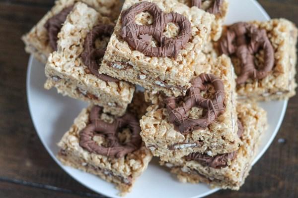 Peanut Butter and Chocolate Pretzel Rice Krispie Treats-7