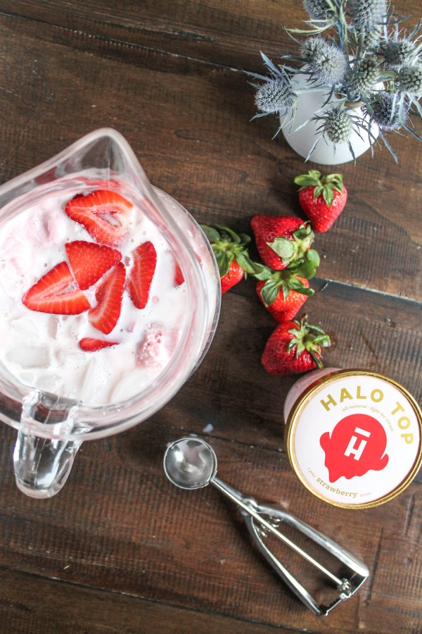 Strawberry White Wine Cocktail with Halo Top Ice Cream-2