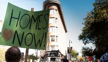 Protest for affordable housing | Photo by Caelie Frampton