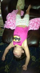 sleeping bat girl upside down