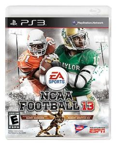 NCAA Football 13 has lots of logos featuring those who made money on the game -- but excluded from making money were the two players featured, Robert Griffin III and Barry Sanders.