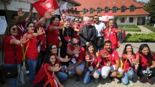 World Youth Day pilgrims with Caritias Lebanon pose with Philippine Cardinal Luis Tagle of Manila July 27 at St. Joseph Church in Krakow, Poland. (CNS photo/Bob Roller) See WYD-CARITAS-SERVE July 27, 2016.