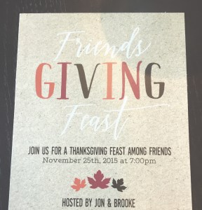 Our Friendsgiving invitation from JazzHandsPaperCo.
