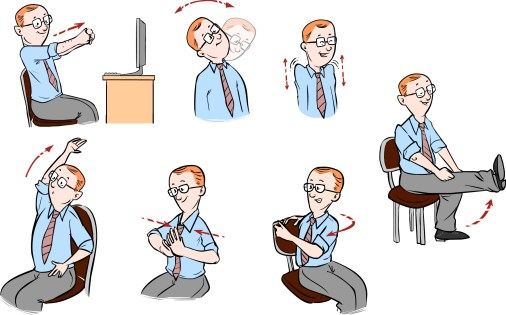 A cartoon doing office exercises