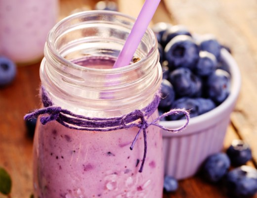 A neatly displayed berry smoothie
