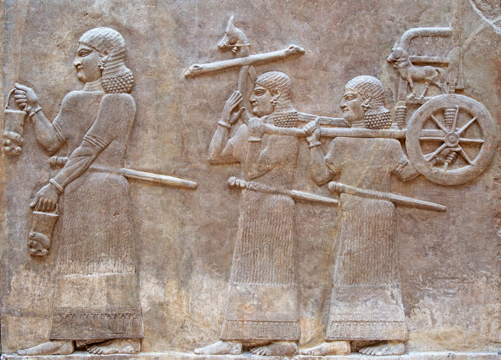 Ancient stone carving with cuneiform scripting made by Sumerians