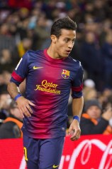 FC Barcelona player wearing the Qatar Foundation logo