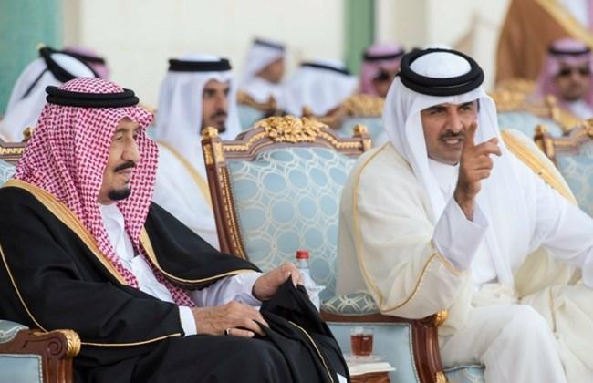 King Salman of Saudi Arabia and Emir Sheikh Tamim bin Hamad Al Thani of Qatar