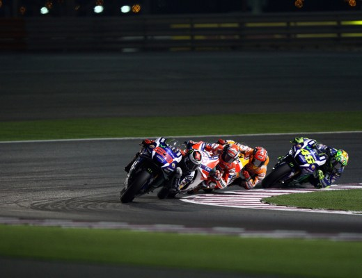 Spanish Yamaha rider Jorge Lorenzo in the lead at 2016 Qatar MotoGP at Losail circuit on March 20, 2016