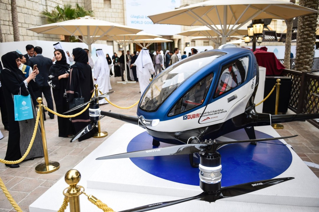 Dubai will start operating drone taxi services using the Ehang 184 - Ehang 184 at the World Government Summit. STRINGER/AFP/Getty Images