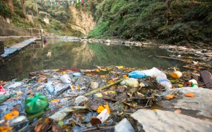 River damaged by plastic pollution in India