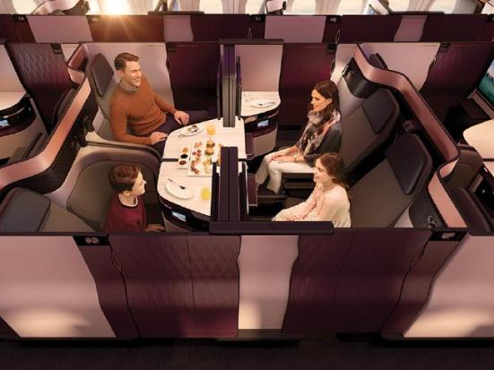 Qatar Airways introduced QSuite, that can be configured to a four person suite - Supplied