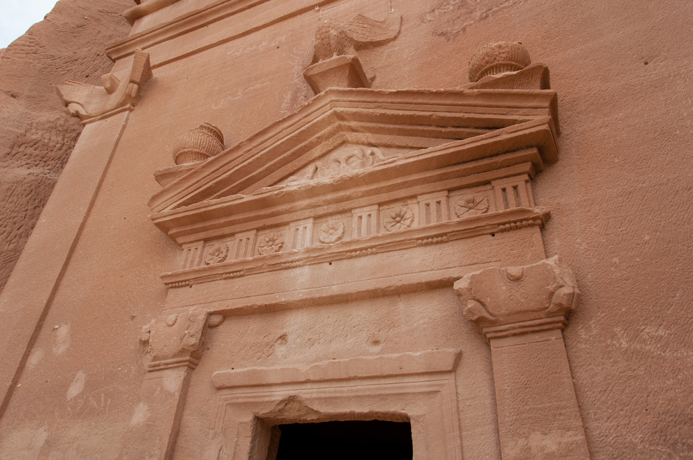 The facade of a Nabatean tomb in Mada'in Saleh.