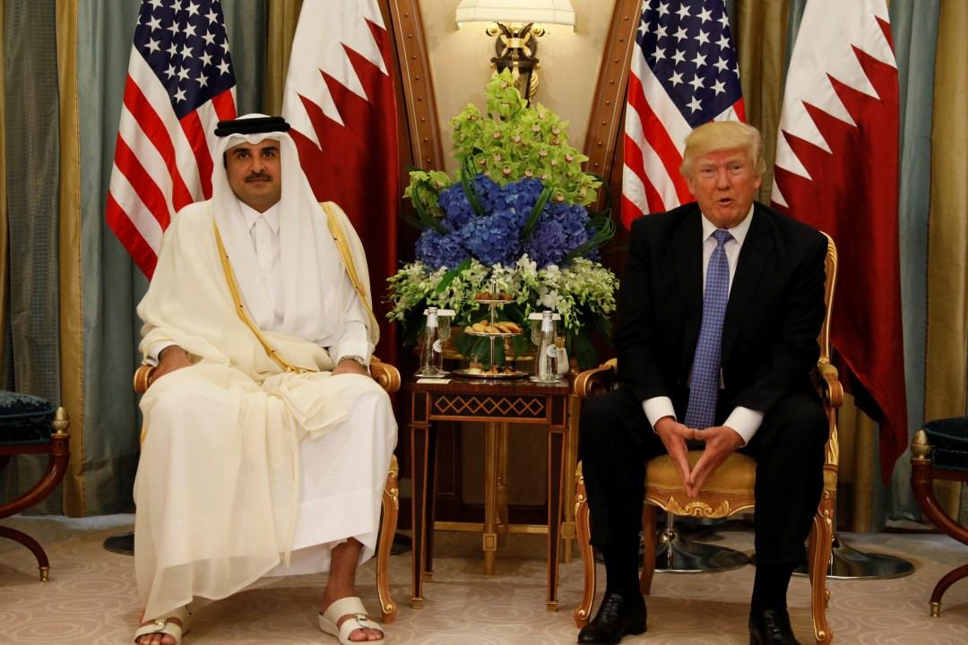 Qatar's Emir Sheikh Tamim Bin Hamad Al-Thani with U.S. President Donald Trump in Riyadh, Saudi Arabia