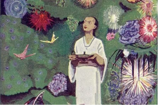 Aladdin in the Magic Garden, an illustration by Max Liebert from Ludwig Fulda's Aladin und die Wunderlampe