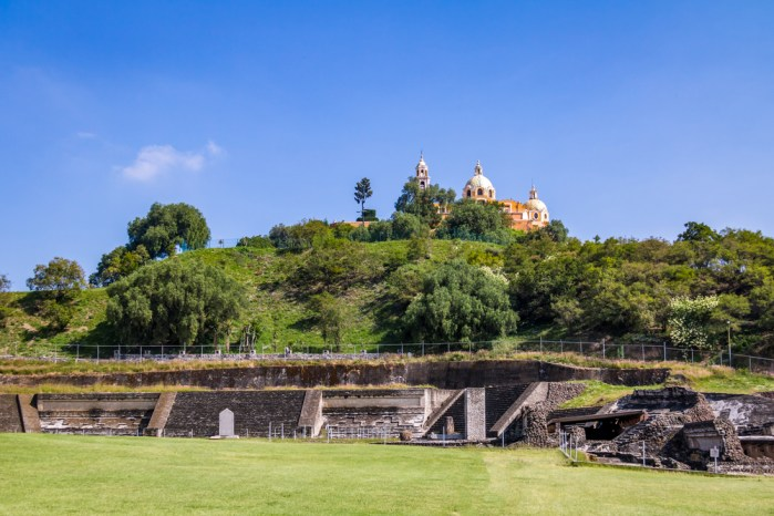A church sitting on top of the Great Pyramid of Cholula.