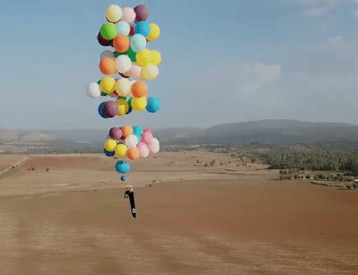 Tom Morgan flew 'Up' above South Africa using a camping chair ties to 100 helium balloons