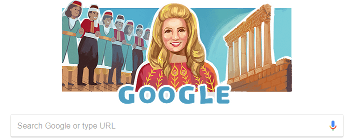 Google Doodle celebrates the 90th birthday of Lebanese singer Sabah