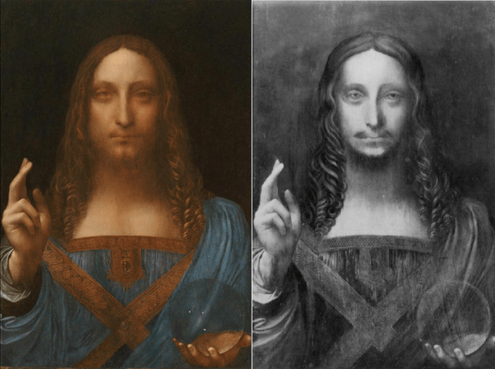 Salvator Mundi painting by Leonardo Da Vinci before restoration (right) and after restoration (left)