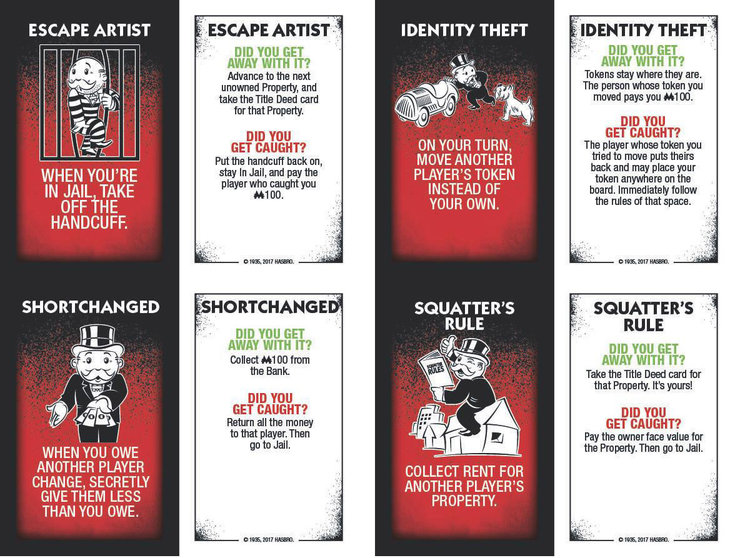Monopoly cheaters edition new cheat cards - hasbro