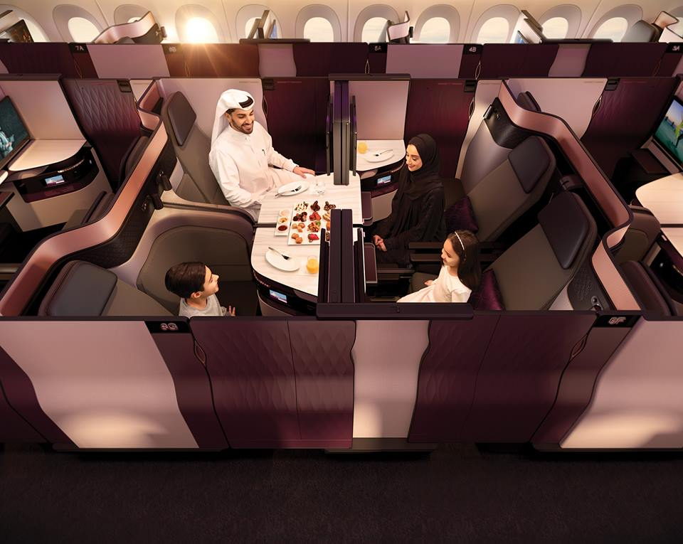 Try out the Qatar Airways business class Qsuite at John F. Kennedy International