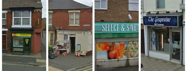 The four Lincoln shops were robbed at knife-point in what could be related incidents. Photos: Google Streetview