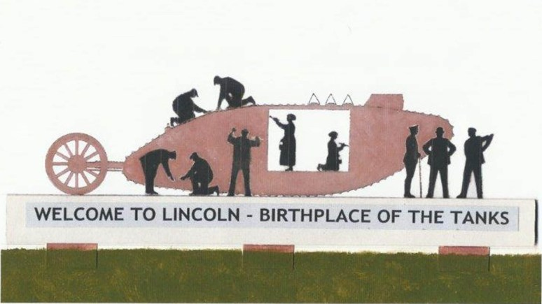 The second version of the tank memorial designs for the Tritton Road roundabout. Photo: Lincoln Tank Memorial Group