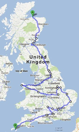 The duo's cycle route over the nine days.