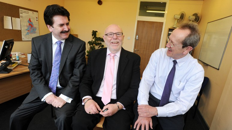 L-R: City of Lincoln Council Chief Executive Andrew Taylor, Housing Estate Officer Graham Fotheringham and City Council Leader Ric Metcalfe.