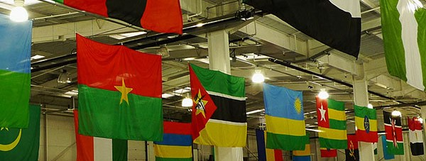Computers 4 Africa decorate collection warehouses with flags representing the different countries in Africa.