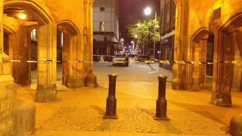 Police tape cordon across Lincoln Stonebow area. Photo: The Lincolnite 2013