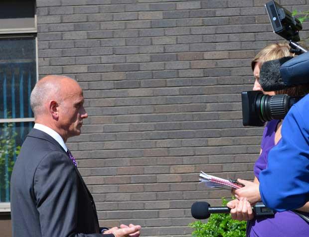 Det Supt Stuart Morrison holding media interviews at Lincoln Police Station on June 25, 2013.