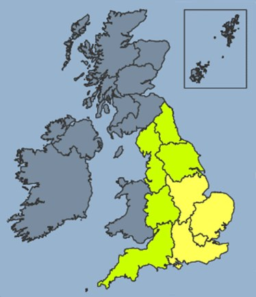 A yellow warning of a heatwave throughout the east and south east of the country. Photo: Met Office