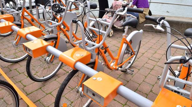 Eight Hirebike stands are placed across Lincoln and use a code to release the bikes. Photo: Steve Smailes for The Lincolnite