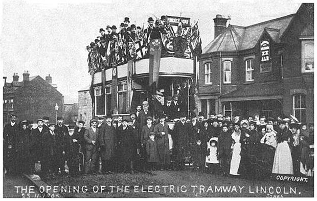 The opening of the electric tram line in Lincoln in 1905 was a big event for the city. Photo: John R. Prentice collection