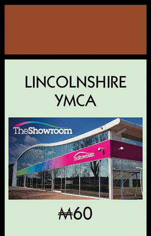 Lincolnshire YMCA's location on the Lincoln Monopoly board