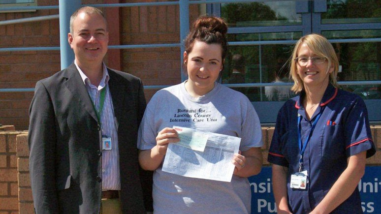 Dr Adam Wolverson, Clinical Director of Critical Care and Anaesthetics at Lincoln and Grantham, fundraiser Mollie Denton, and Matron for ICU, Sarah Southall.